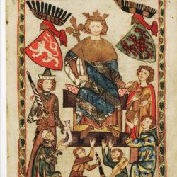 Faksimile gemalt mit Goldauflage, Codex Manesse Folia 10, König Wenzel II. von Böhmen
