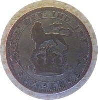 sixpence 1925 Grossbritannien George V.