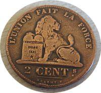 2 Cent Belgien 1870  Leopold II