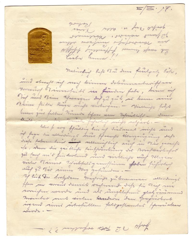 Briefpapier mit Goldstempel Isonzo 1917