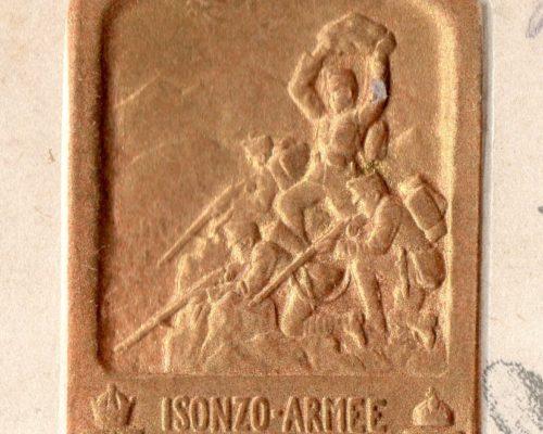 Isonzo Reliefstempel Gold - Feldpostkorrespondenzkarte