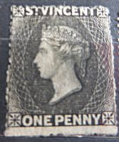 St. Vincent one penny black - schwarze one penny Briefmarke