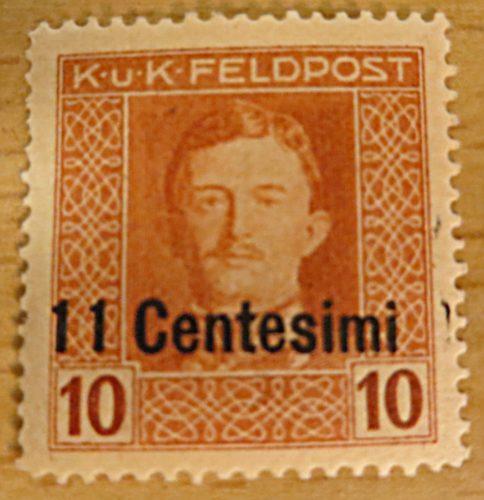 K.u.K.Feldpost 11 Centesimi auf 10 Centesimi