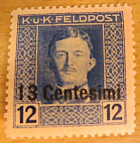 K.u.K.Feldpost 13 Centesimi auf 12 Centesimi