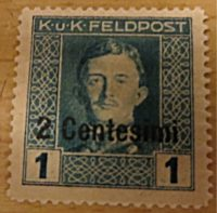 K.u.K.Feldpost 16 Centesimi auf 15 Centesimi 1918