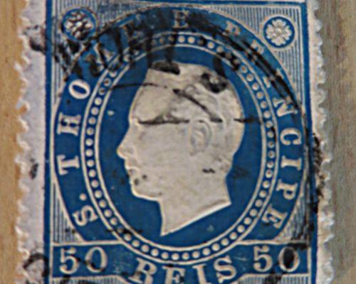 50 REIS blau 1879 King Luis I. Portugal