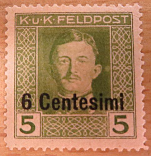 K.u.K.Feldpost 6 Centesimi auf 5 Centesimi