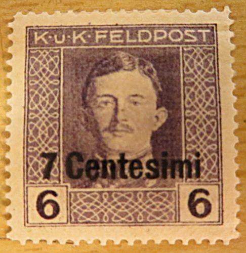 K.u.K.Feldpost 7 Centesimi auf 6 Centesimi