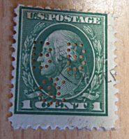 one cent washington perfin