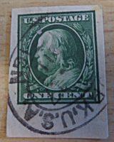 one Cent stamp Benjamin Franklin  1908