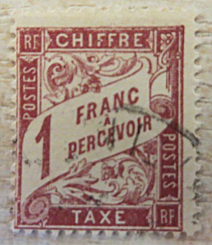 1 Franc a percevoir chiffre gestempelt