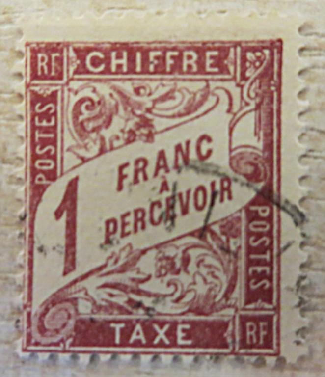 2 Franc a percevoir Chiffre 1890 Portomarken Frankreich Timbre-taxe de France 1890