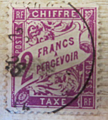 2 Franc a percevoir chiffre gestempelt