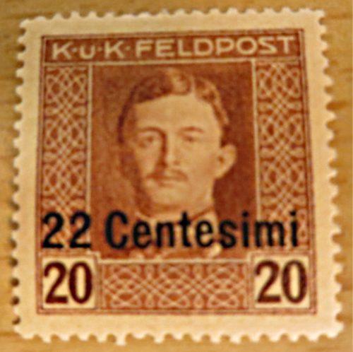 K.u.K. Feldpost 22 Centesimi auf 20