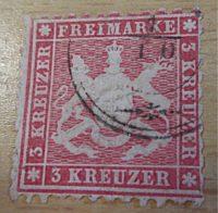 3 Kreuzer 1865 Wappen von Württemberg
