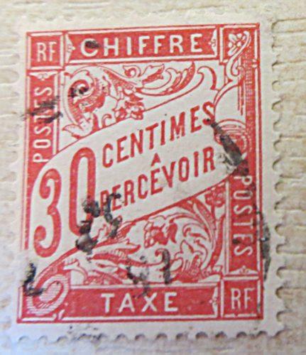 30 Centimes a percevoir chiffre 1894 gestempelt