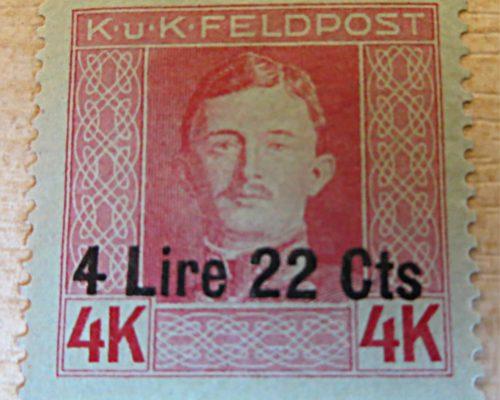K.u.K. Feldpost 4 Lire 22 Centesimi auf 4K