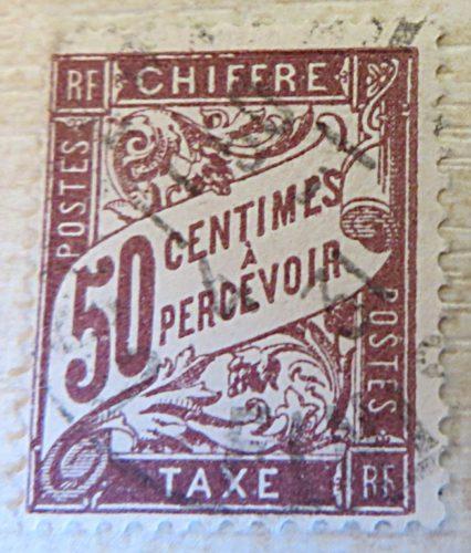 50 Centimes a percevoir chiffre 1894 gestempelt