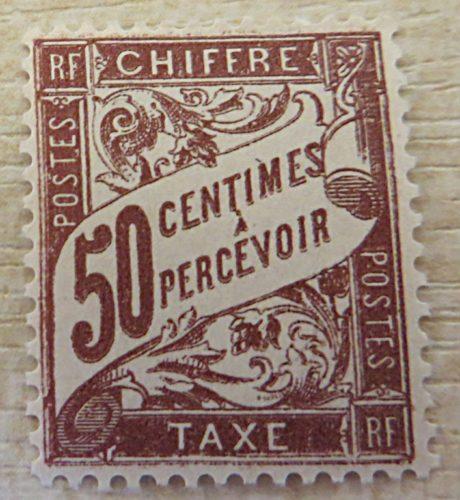 50 Centimes a percevoir chiffre 1894 ungestempelt