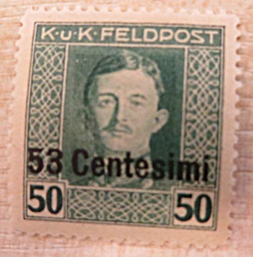 K.u.K. Feldpost 53 Centesimi auf 50