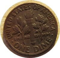 one dime 1985 brown