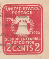 """2 cents liberty bell 1896 - Design """"U 94 """"  Ganzsache USA 1927 - Sesquicentennial Exposition"""