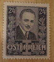 24 Groschen Dollfuß Trauermarke ungestempelt - Volkstrauertag 25 Juli 1935 Dollfuß