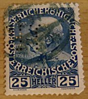 25 Heller 1916 perfin