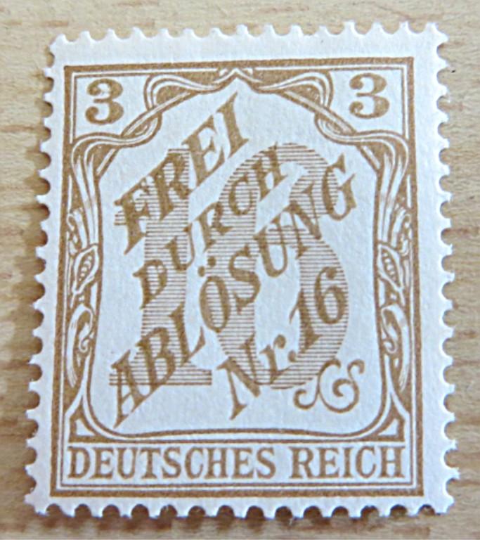 """Dienstmarken Nr. 16 """"frei durch Ablösung"""" Dienstmarken 1905"""