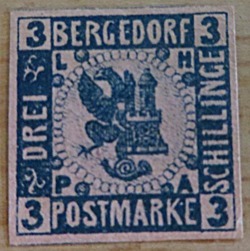 3 Schilling Postmarke Bergedorf