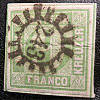 9 Kreuzer Franco - Bayern Mühlrad-Nummernstempel 243