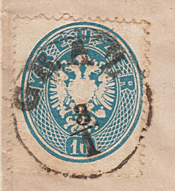10 Kreuzer 1863 Doppeladler oval - enge Zähnung Ganzstück