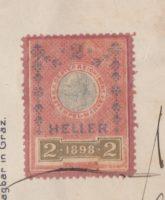 2 Heller 1898 Stempelmarke Österreich Kaiserkopf