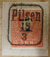 5 Kreuzer 1858 Kaiserkopf Pilsen Poststempel