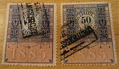50 Kreuzer 1888 Stempel Marke gestempelt