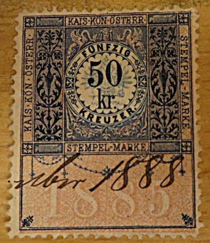 50 Kreuzer 1888 Stempel Marke ungestempelt