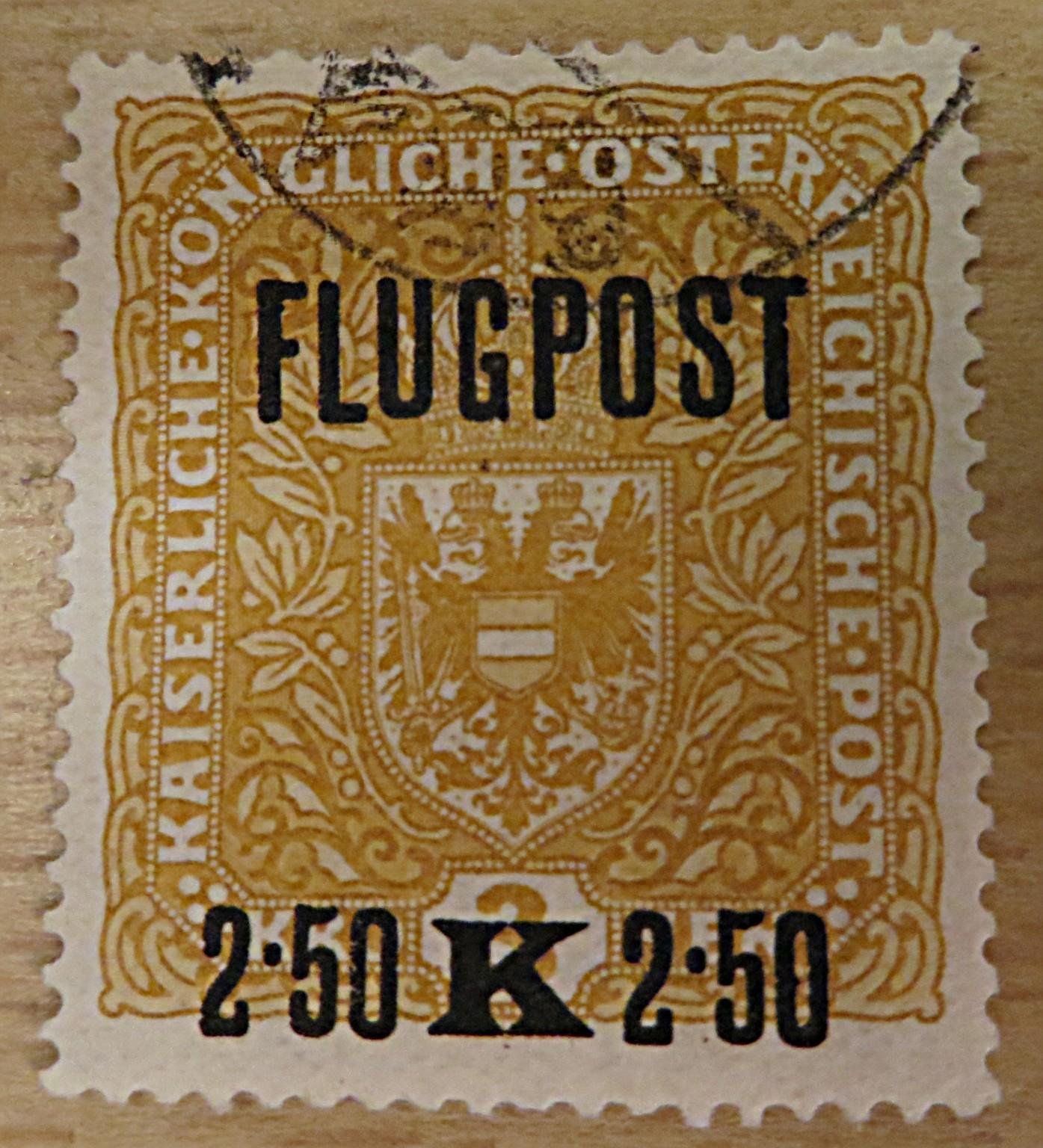 Flugpost 2,50 auf 3 Kronen 1918 gelb
