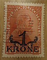 1 Krone a. 15 Heller 1920 Kaiserkopf - Liechtenstein Briefmarken