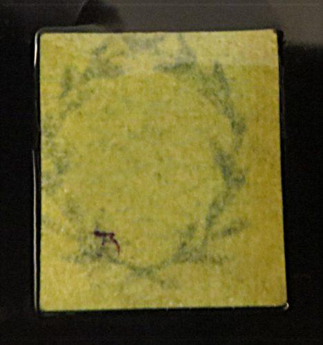 3-Silbergroschen 1850 gelb-Wasserzeichen Lorbeerkranz