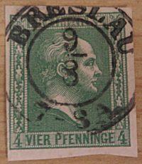4 Pfennige 1859 Preussen Freimarke dunkelgrün