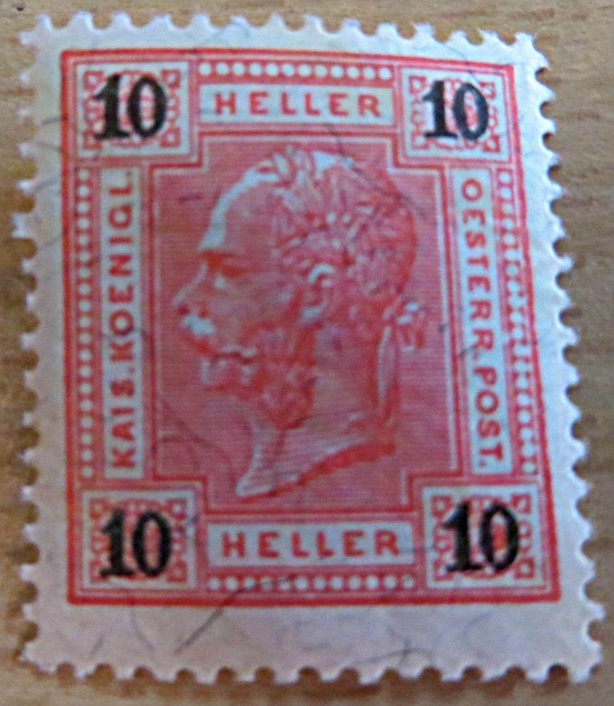 10 Heller 1899 ungestempelt Briefmarke Kaiserkopf links