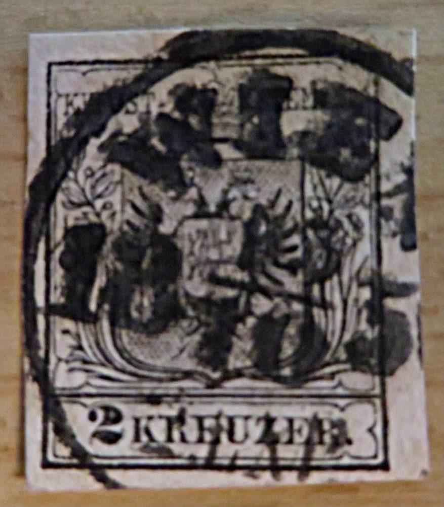 2 Kreuzer 1850 geschnitten