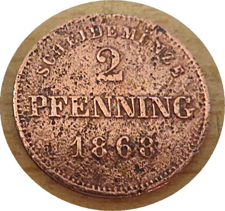 2 Pfennig 1868  Bayern Ludwig II