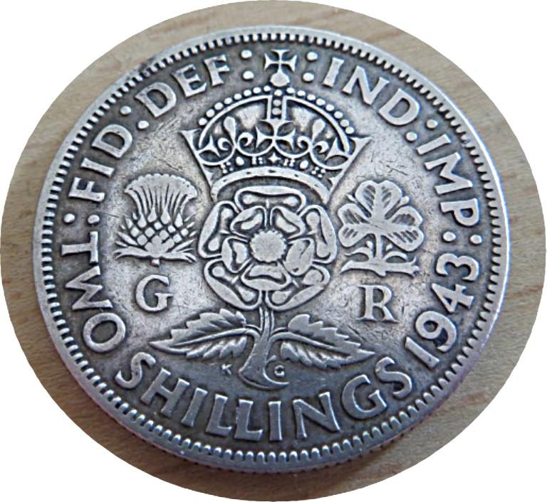 2 shillings 1943 florin George VI Großbritannien