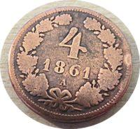 4 Kreuzer A 1861 Franz Joseph I. 1848  1916