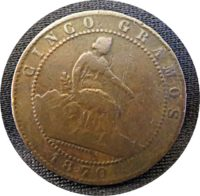 """5 Centimos gramos 1870 Spanien Münzen """"Perra chica"""""""