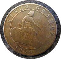 5 Centimos granos 1870
