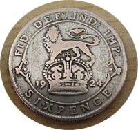 sixpence 1924 Silber King Georg V.