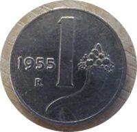 1 Lira 1955 Italien Münzen