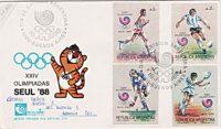 Olympiade SEUL 88 Ersttagsstempel Briefmarken Argentinien